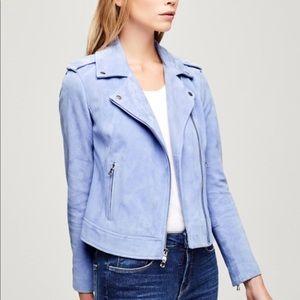 L'AGENCE Pastel Blue Suede Moto Jacket